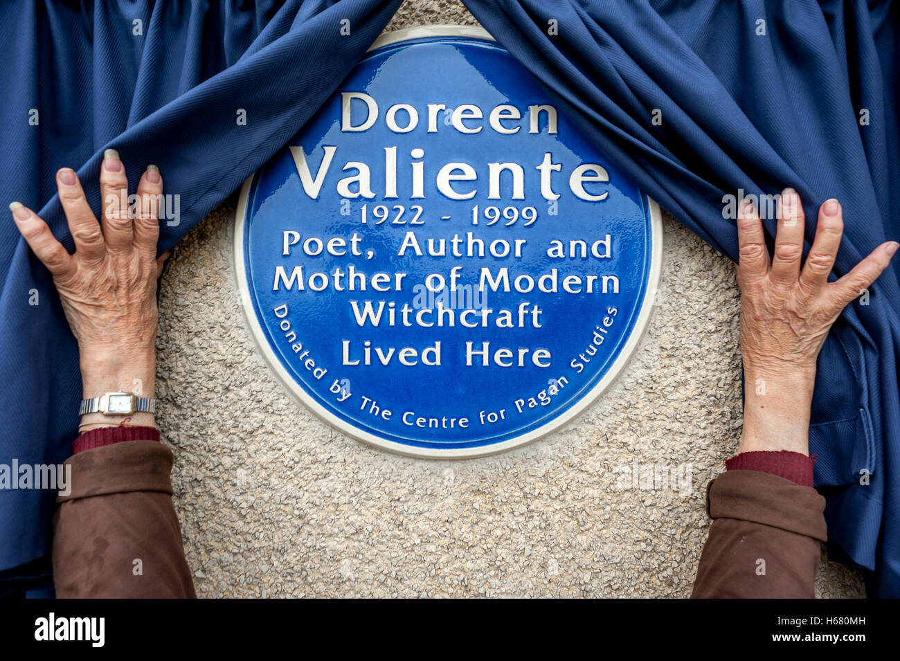 The first blue plaque in the UK to commemorate the life of a witch will be revealed in Brighton today, Summer Solstice - Stock Image