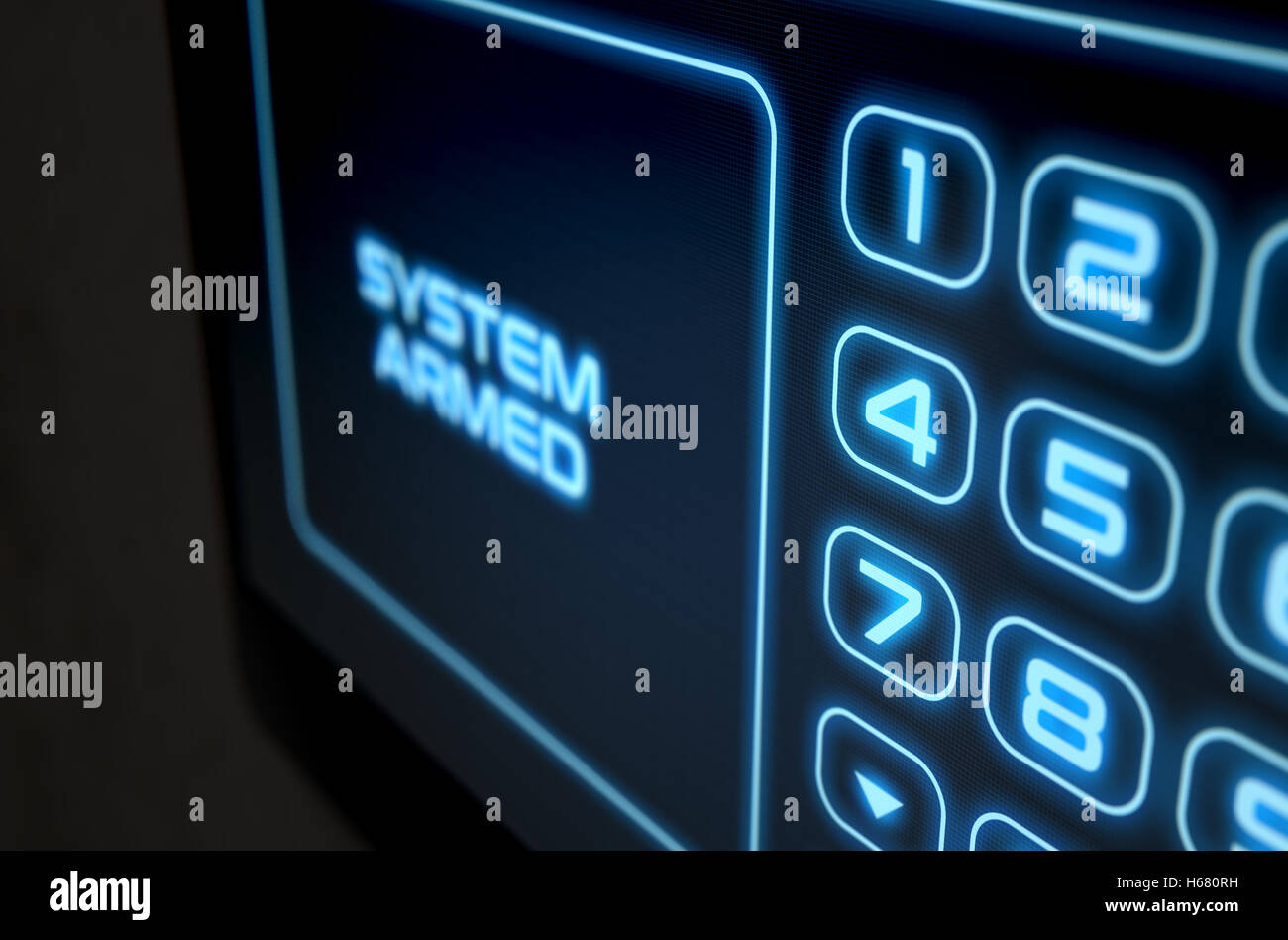 A 3D render of a modern touch screen interactive home security keypad access panel with an illuminated digital numeric - Stock Image