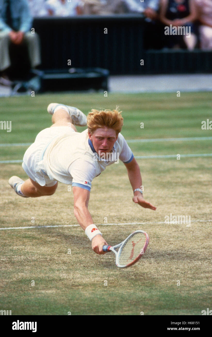 Boris Becker lunges for volley on Centre Court on his way to winning the 1985 Wimbledon Championships. - Stock Image