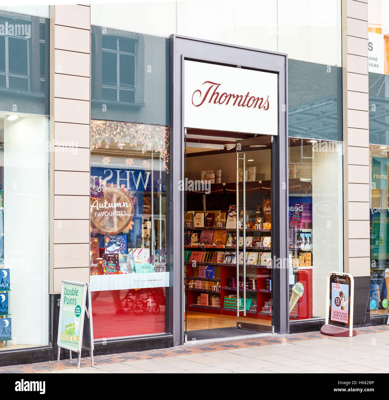 Frontage of the Thorntons store. On Listergate, Nottingham, England. - Stock Image