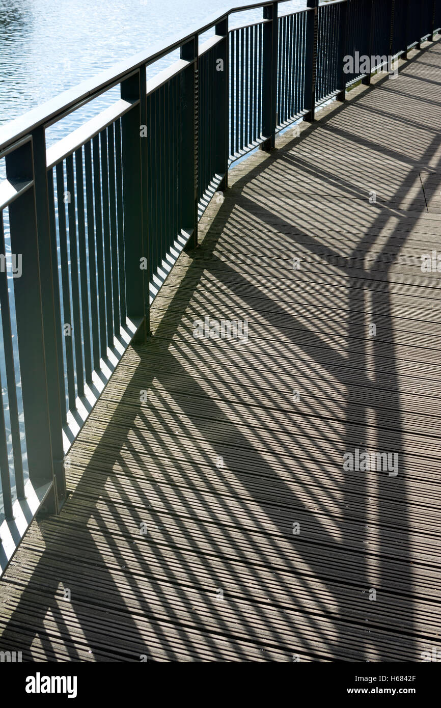 Metal railings and shadows, RSC Theatre, Stratford-upon-Avon, UK - Stock Image