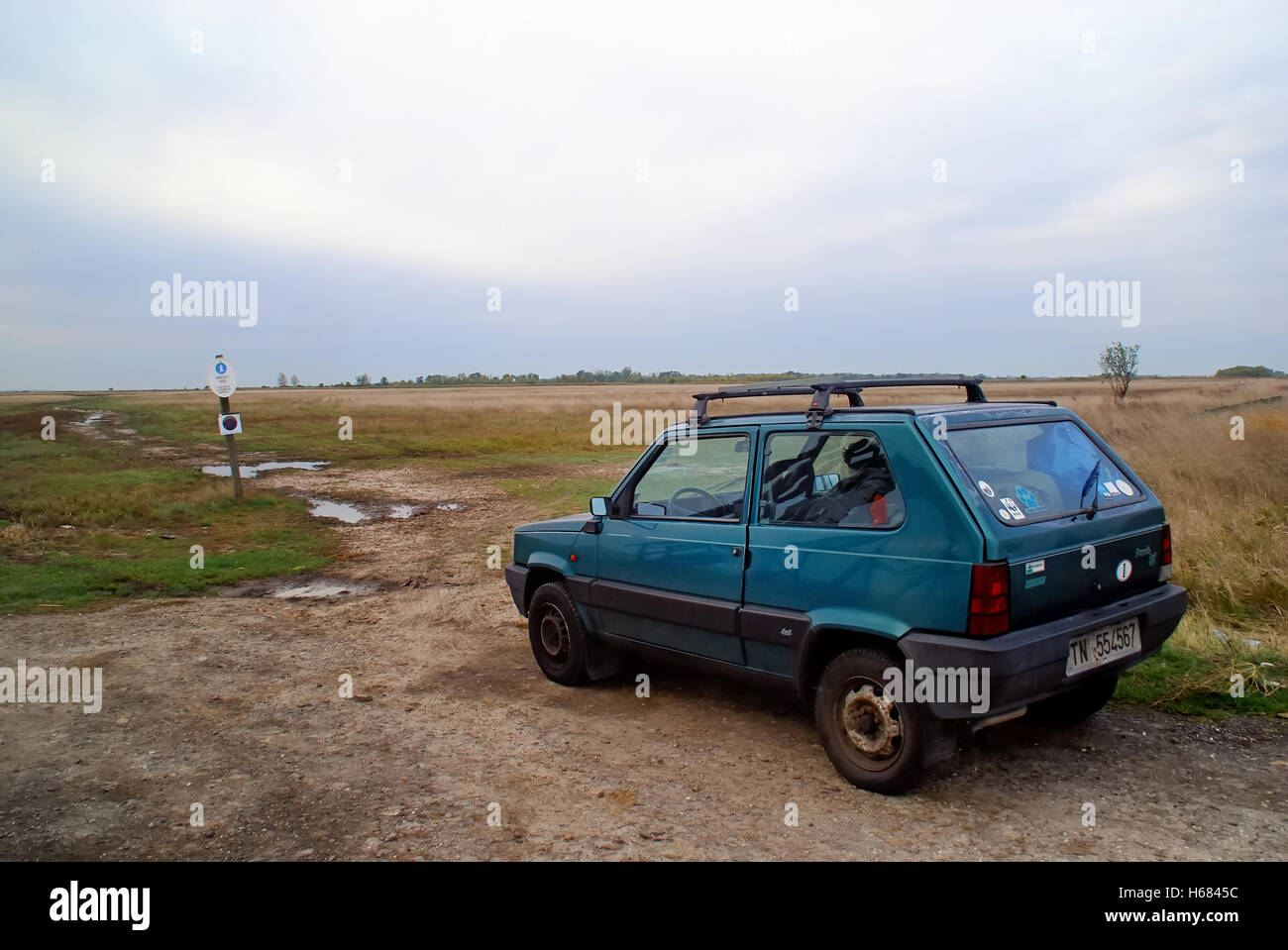 Hortobagy, Hungary. A Fiat Panda 4X4 in the Hungarian Puszta. The car have an Italian number-plate. - Stock Image