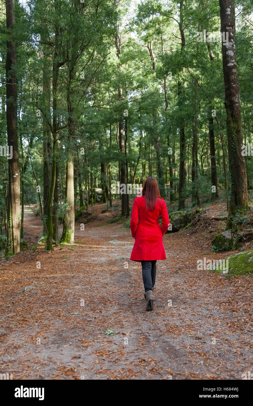 Young woman walking alone on a forest path with a red long coat /// woods lonely overcoat jacket wood walking strolling - Stock Image