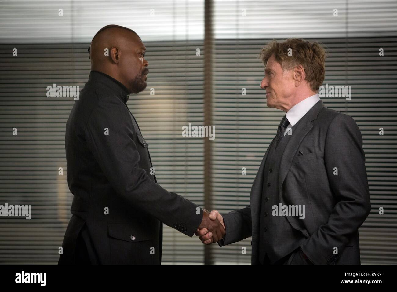 SAMUEL L. JACKSON & ROBERT REDFORD CAPTAIN AMERICA: THE WINTER SOLDIER (2014) - Stock Image