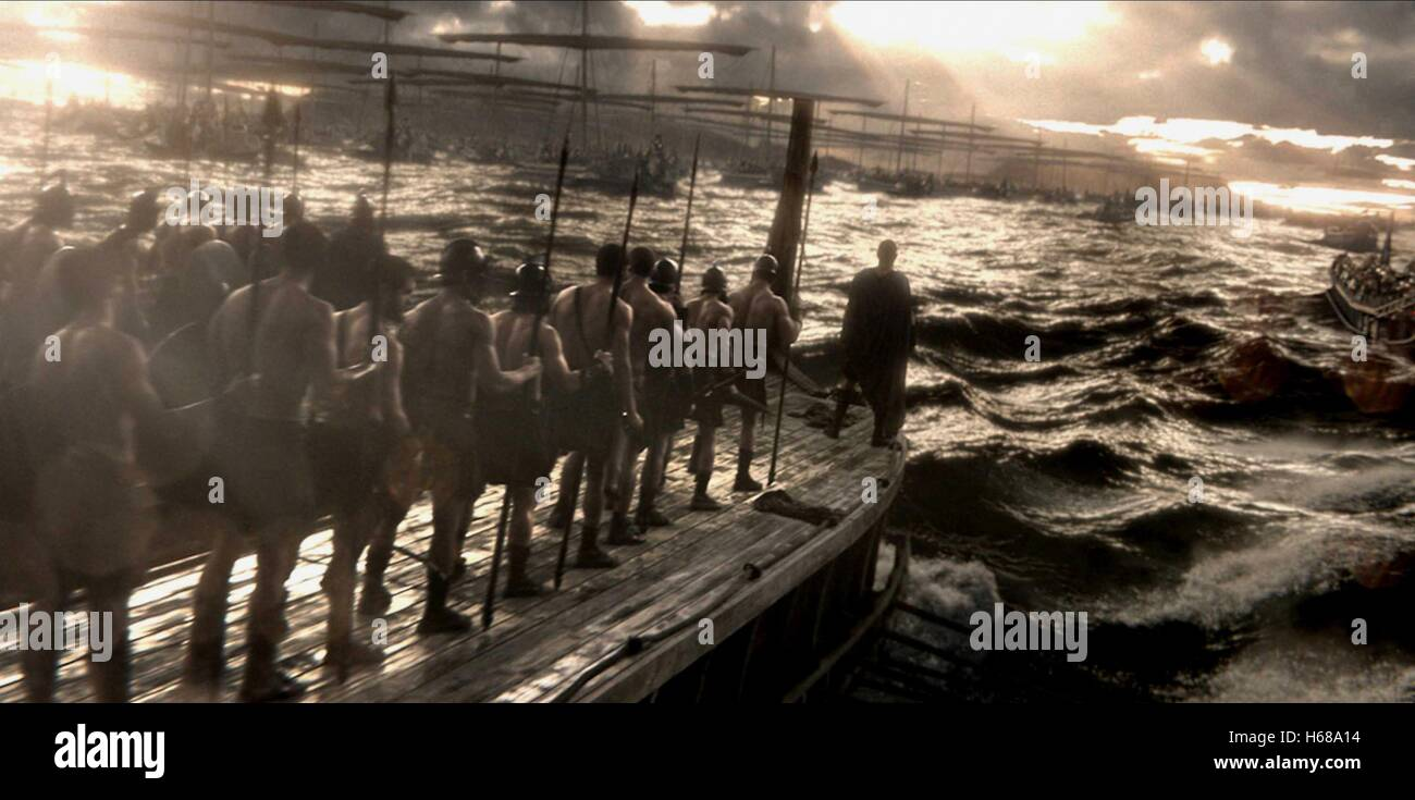 SCENE WITH SOLDIERS ON BOATS 300: RISE OF AN EMPIRE (2014) - Stock Image