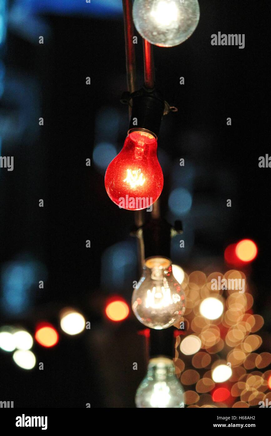 Decorative outdoor string lights hanging at night time fairy stock decorative outdoor string lights hanging at night time fairy aloadofball Choice Image