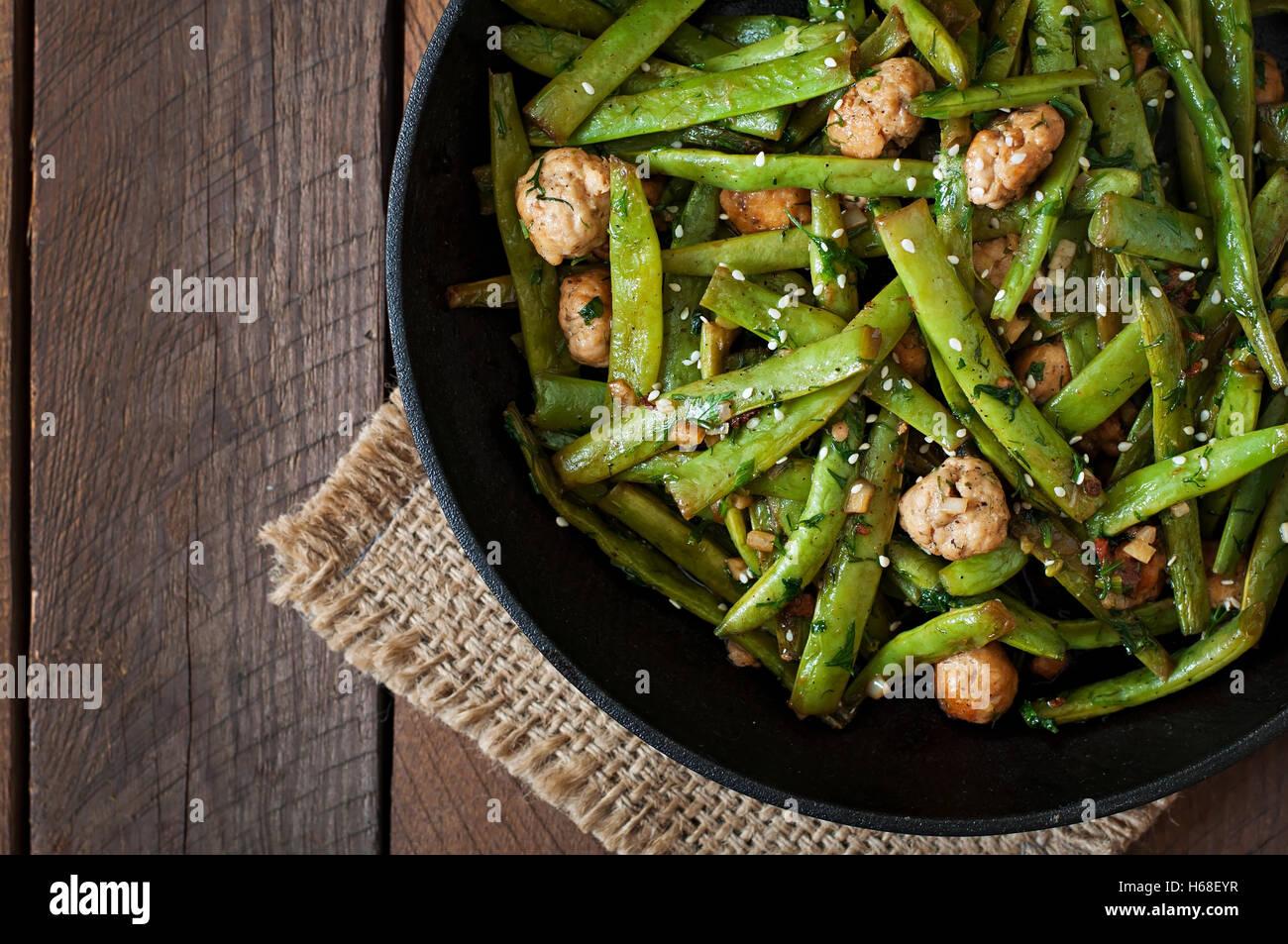 Watch Green Bean and Meatball Stir-Fry video
