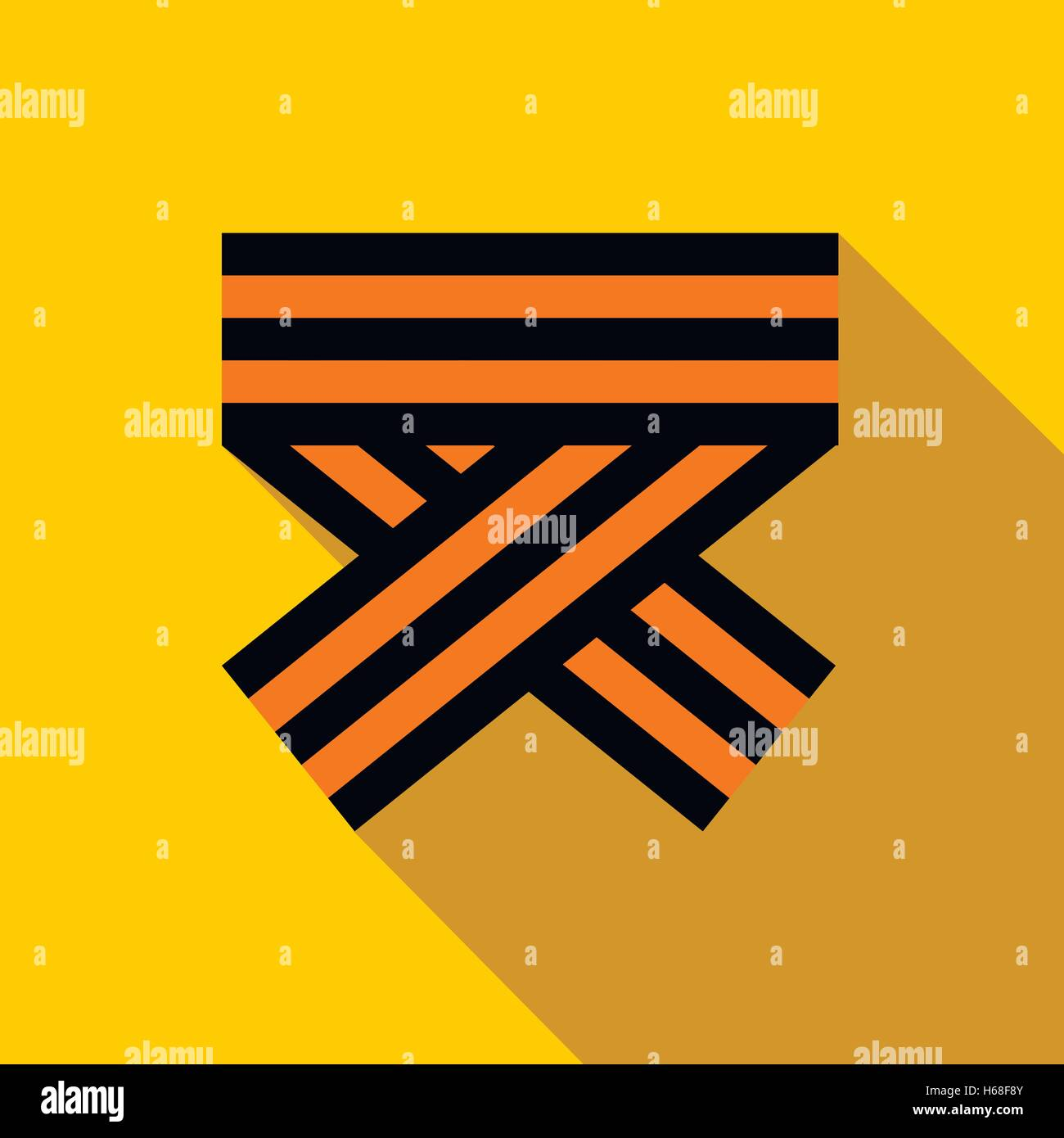 Orange and black striped ribbon symbol icon - Stock Vector