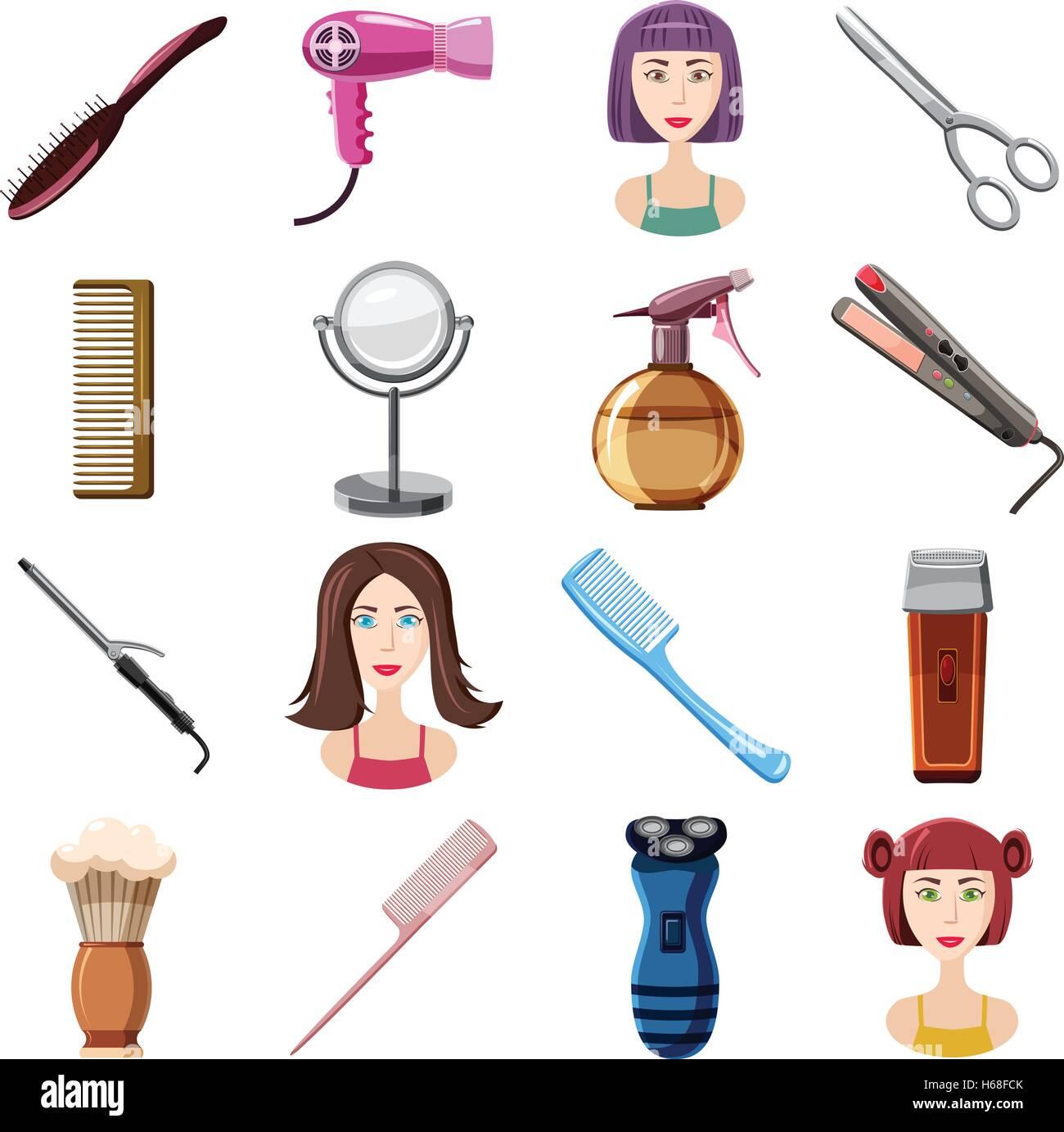 Hairdresser icons set, cartoon style - Stock Image