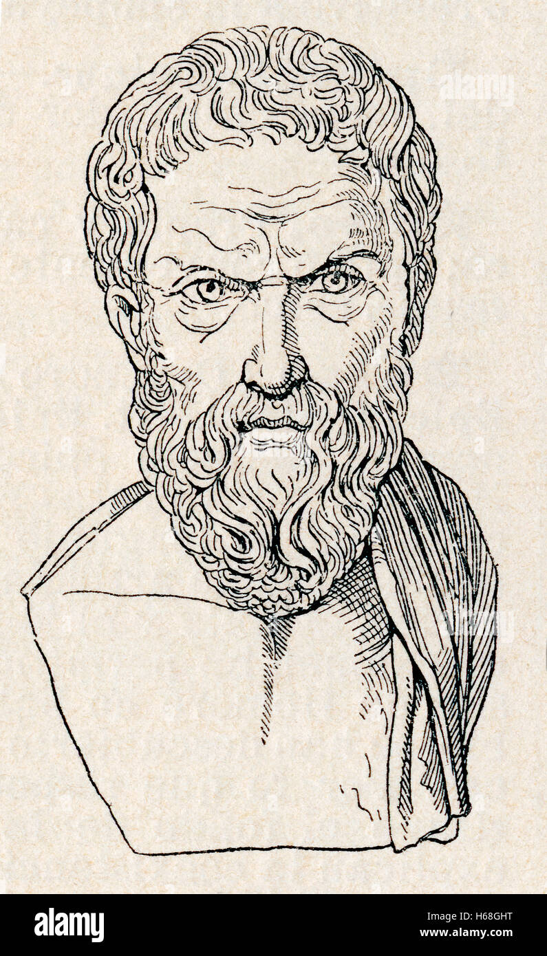 Epicurus, 341–270 BC. Ancient Greek philosopher and founder of the school of philosophy called Epicureanism. - Stock Image