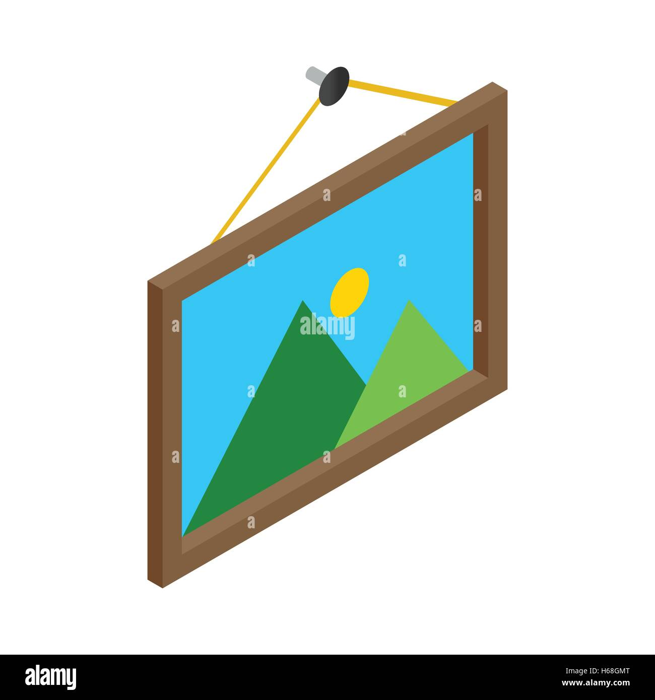 Picture on the wall isometric 3d - Stock Image