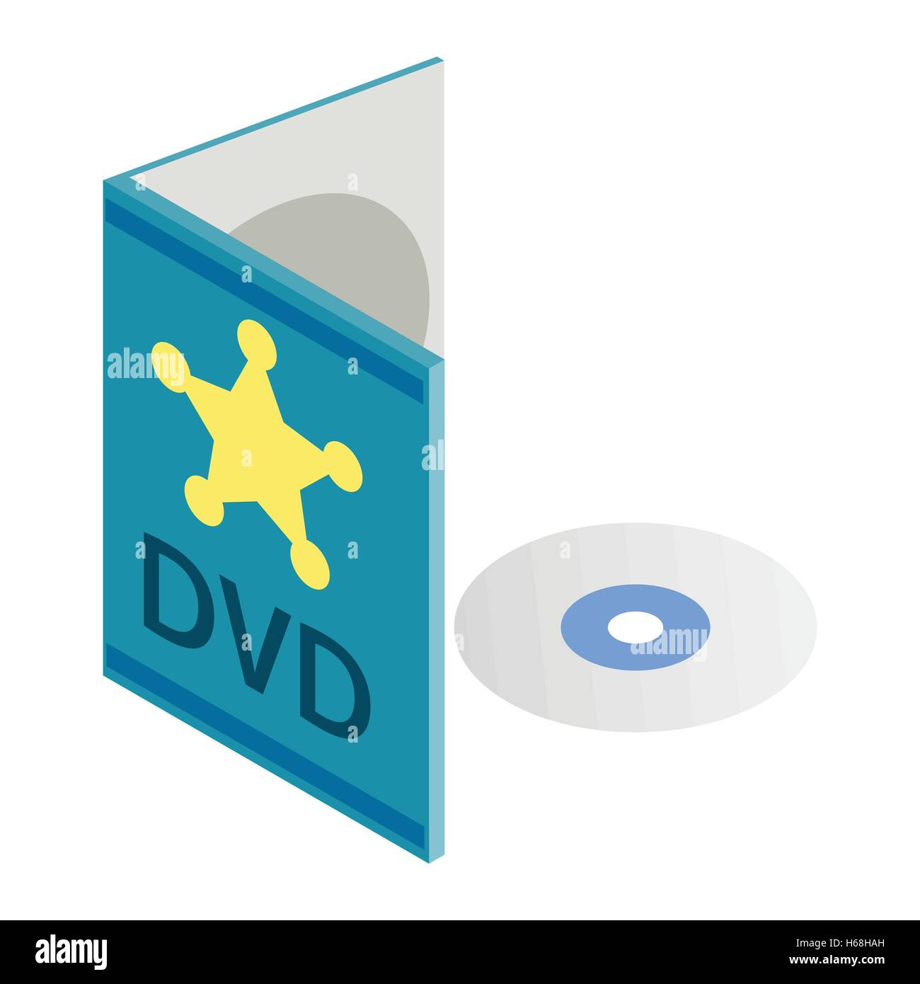 DVD disk with box isometric 3d icon - Stock Vector