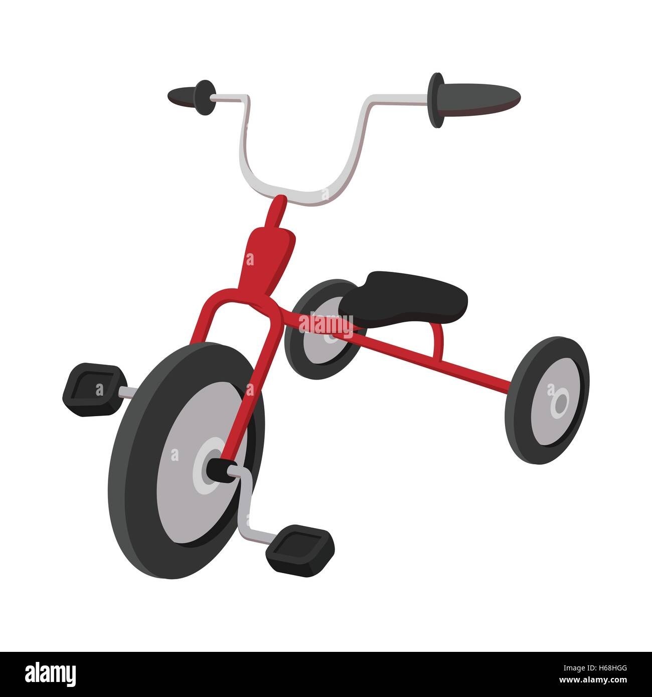 Children red tricycle cartoon icon - Stock Image