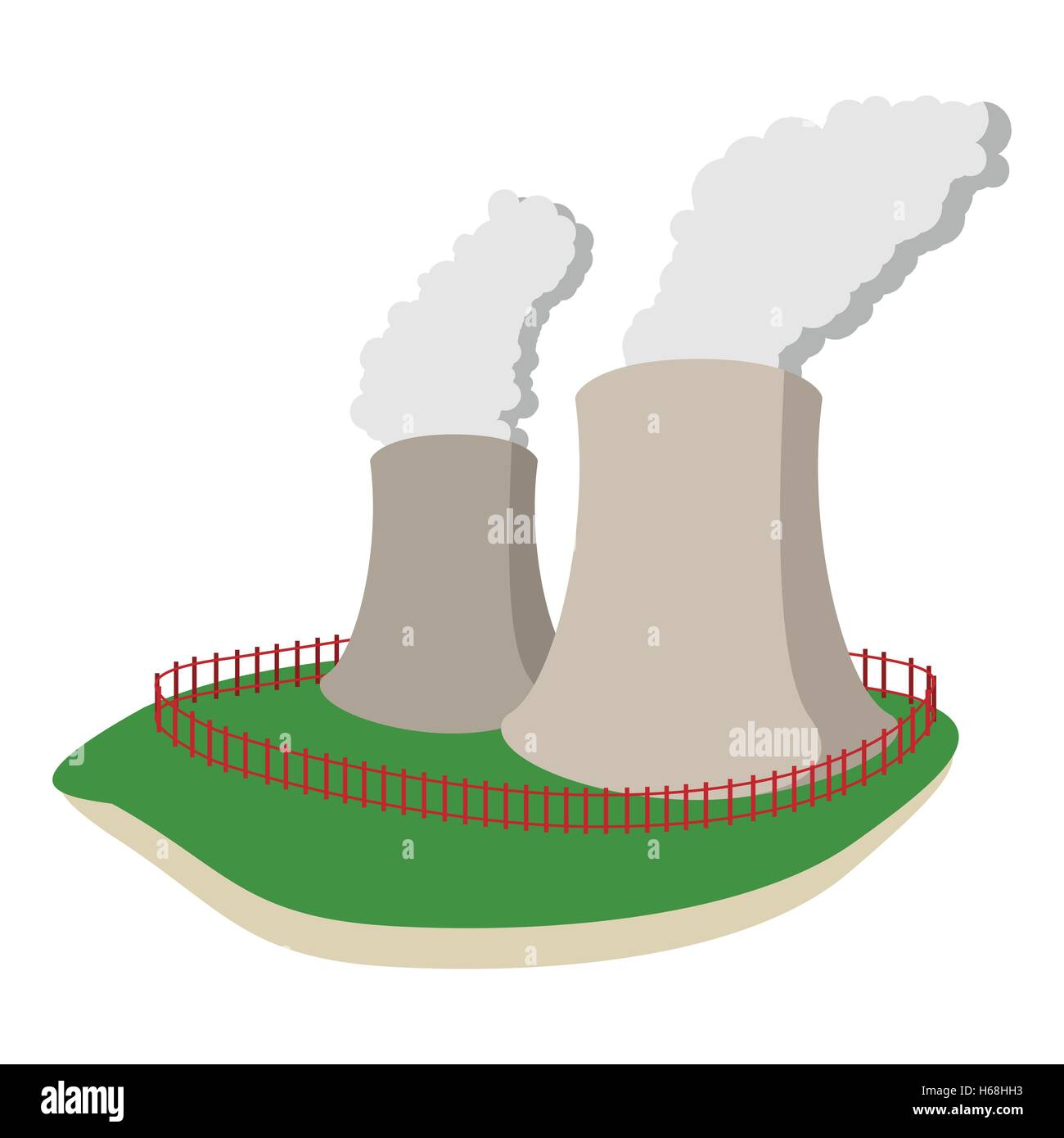 Thermal Power Station Stock Vector Images Alamy Nuclear Plant Diagram Animation Smoking Pipes Of