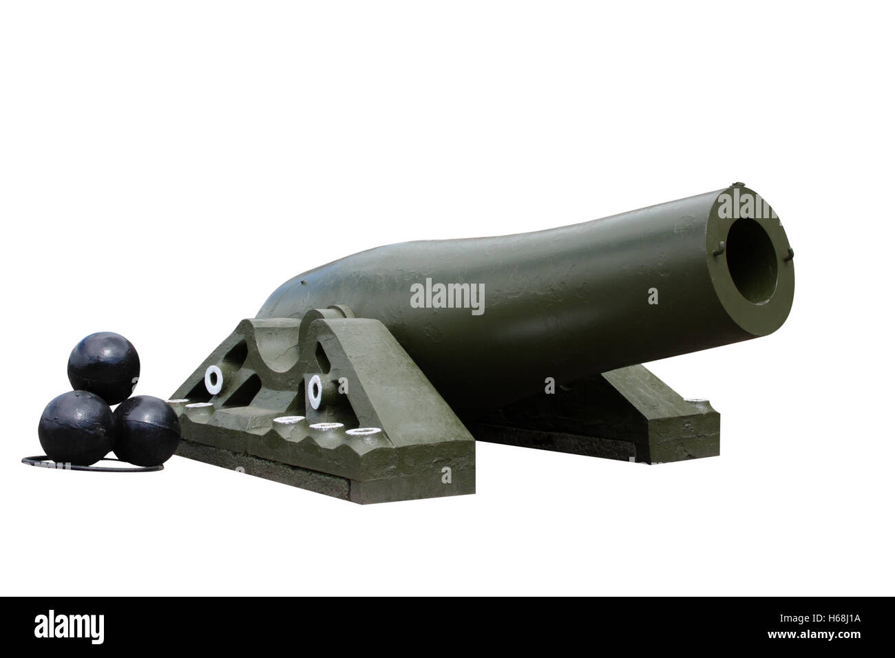 20 inch pig-iron ship guns - Stock Image