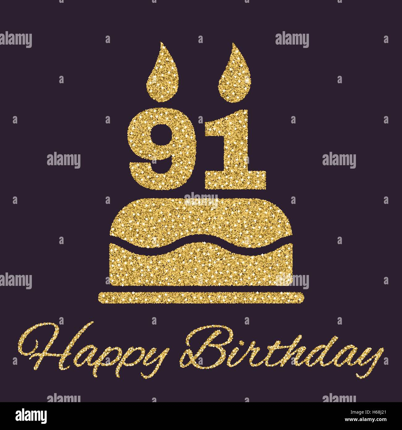 The Birthday Cake With Candles In Form Of Number 91 Icon Symbol Gold Sparkles And Glitter