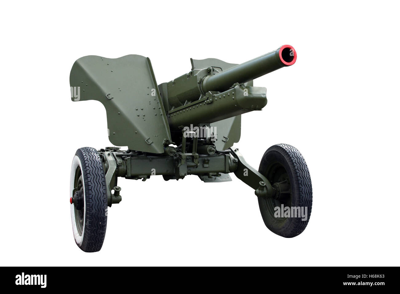 The Soviet mountain gun isolated on a white background - Stock Image
