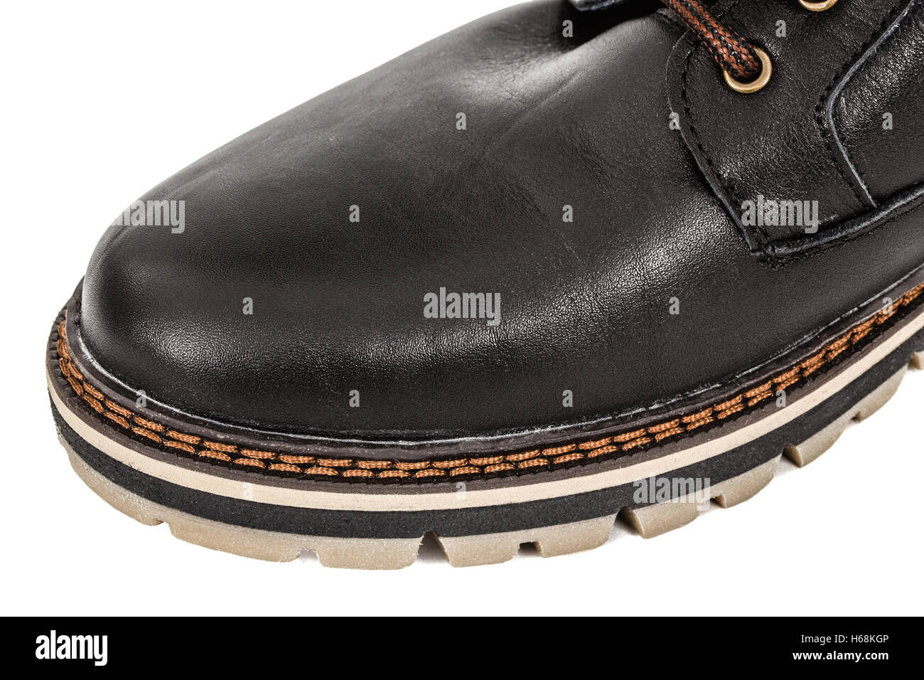 The shoe of needled strong thread, stitch of seam close-up, isolated on white background - Stock Image
