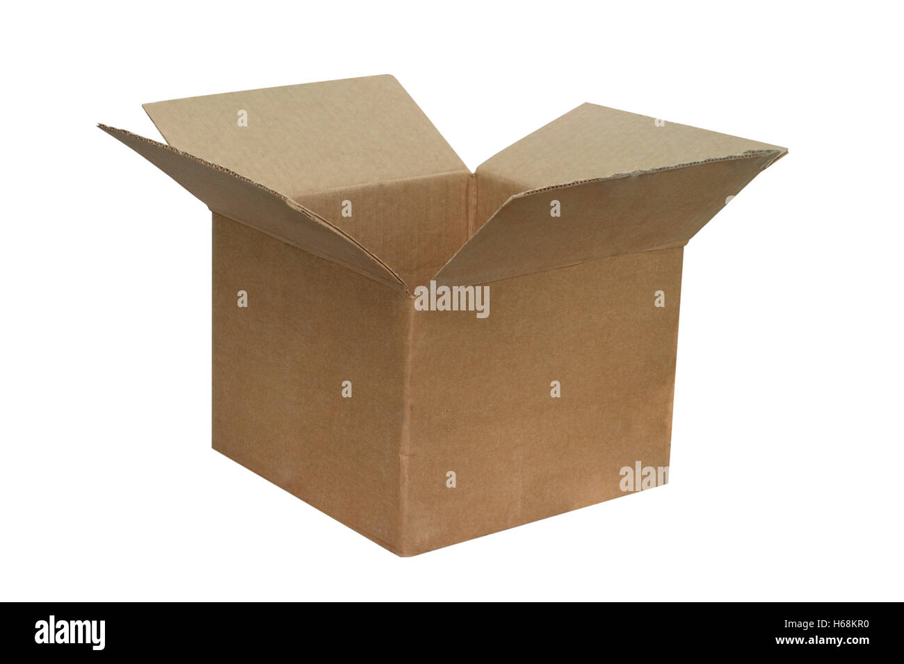 The open cardboard box is isolated on a white background - Stock Image
