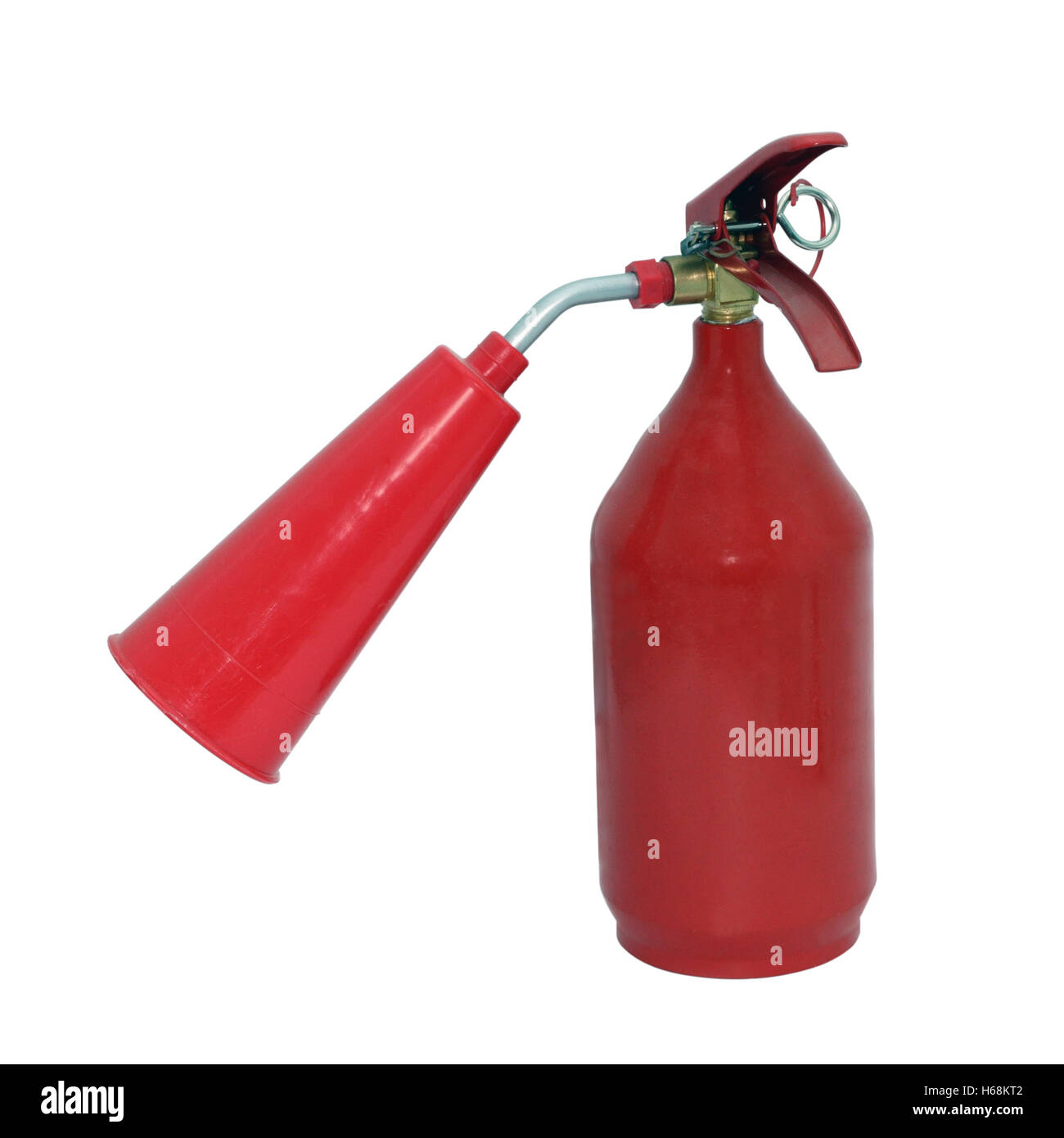 The red fire extinguisher separately on a white background - Stock Image
