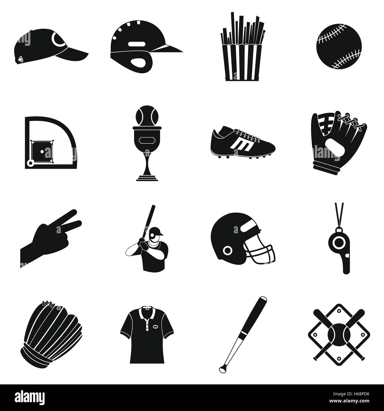 American football black simple icons - Stock Image