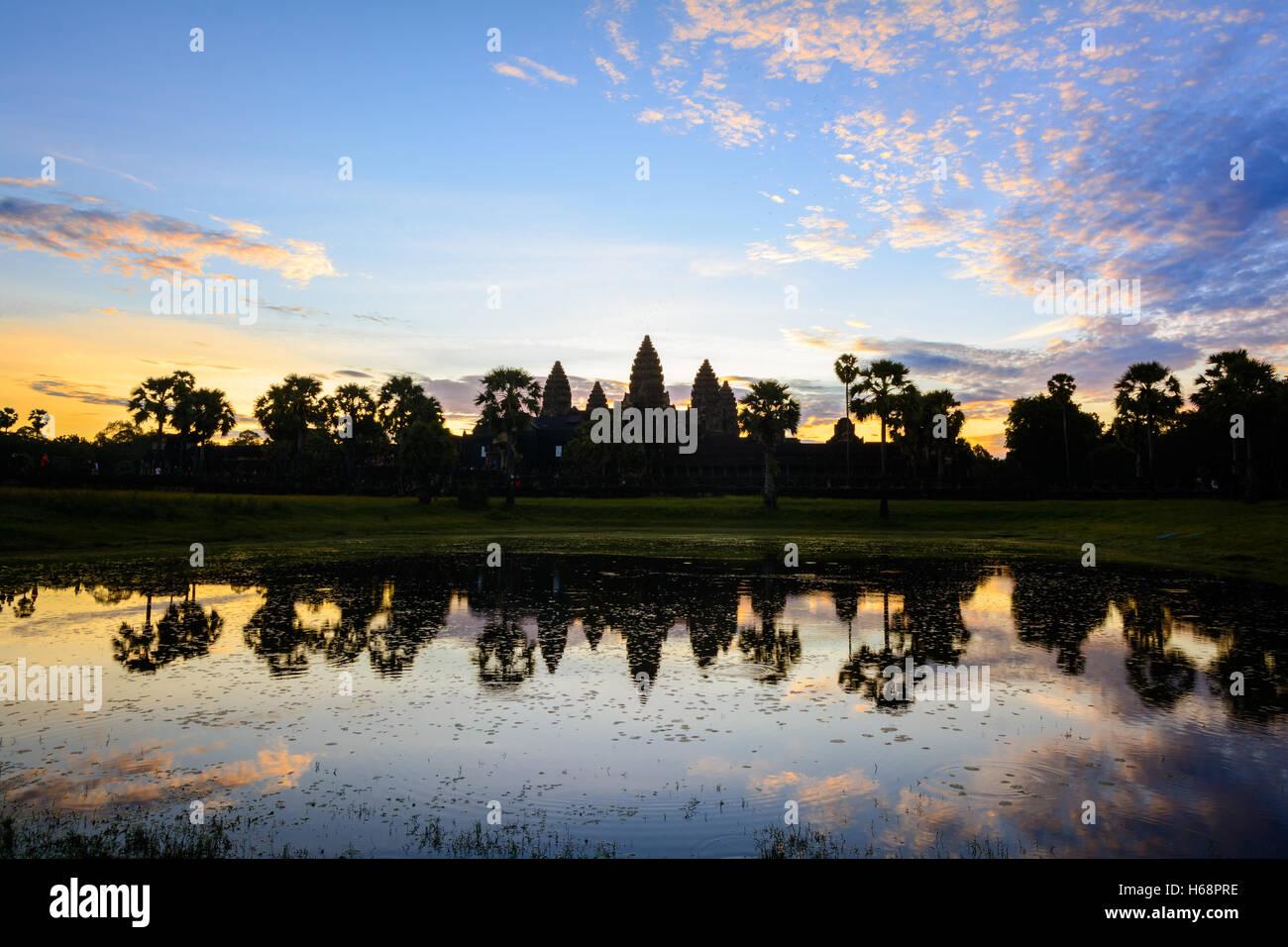 Angkor Wat Sunrise Landscape - Reflection in holy lake Stock Photo
