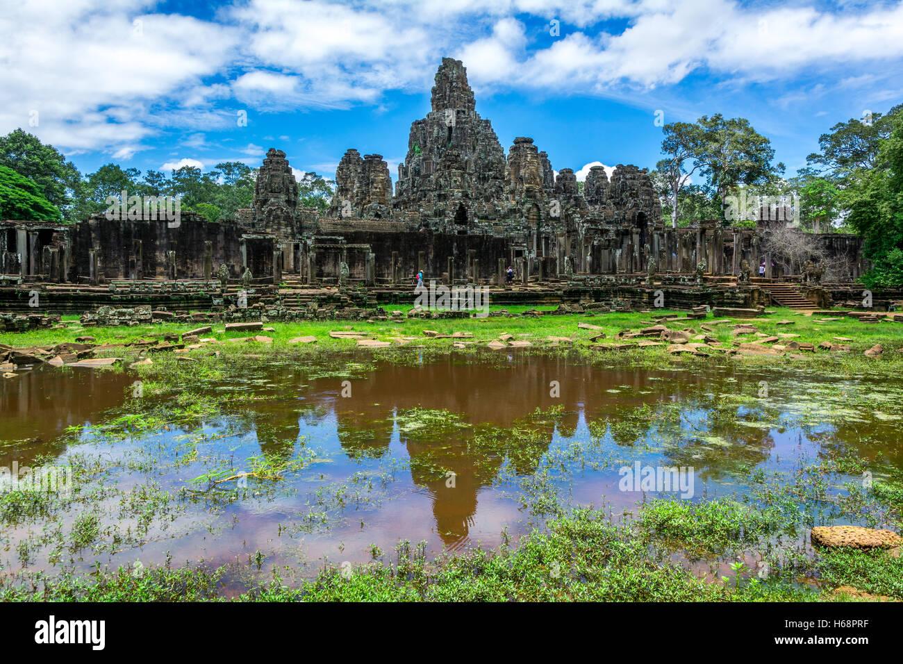 Angkor Wat Cambogia - Temple with Lake - Stock Image