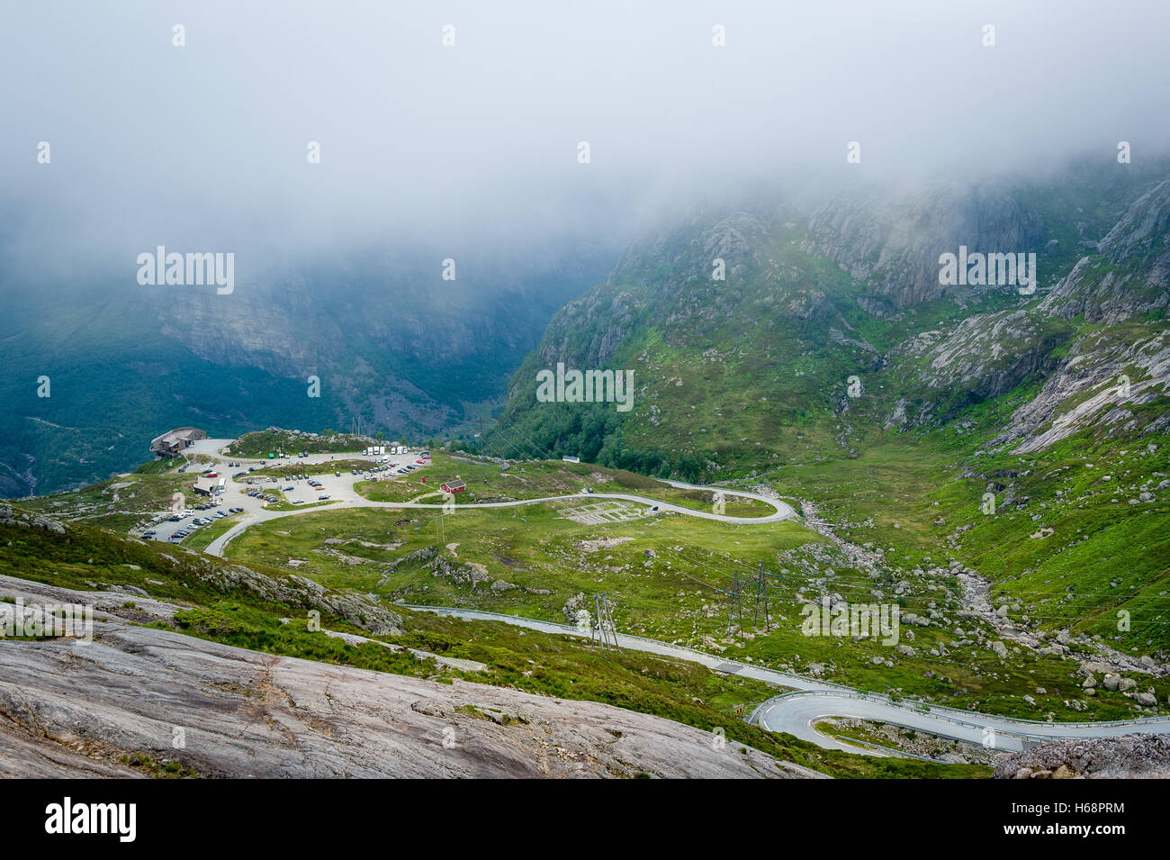 Mountain roads landscape at the start of Kjerag hiking route. - Stock Image