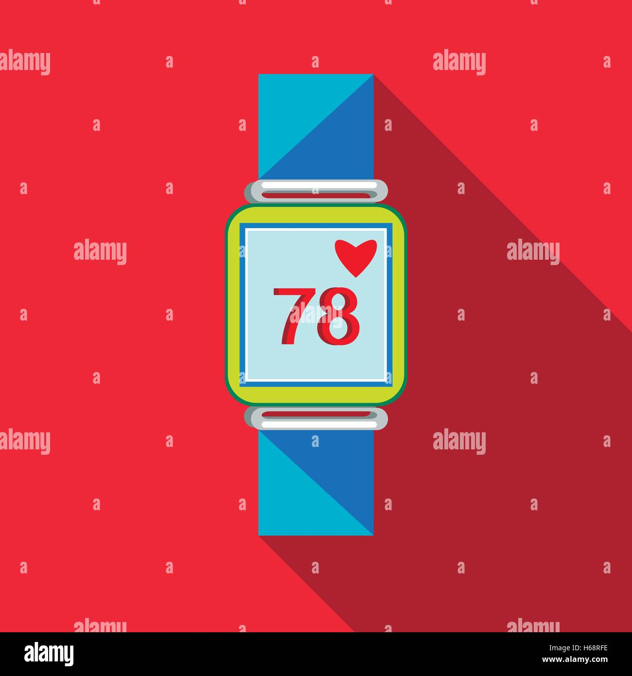 Pulsometer heart rate watch icon, flat style - Stock Image