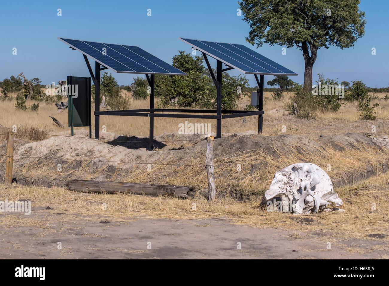 Solar Panels to power a water pump at Shumba in Hwange National Park Zimbabwe - Stock Image