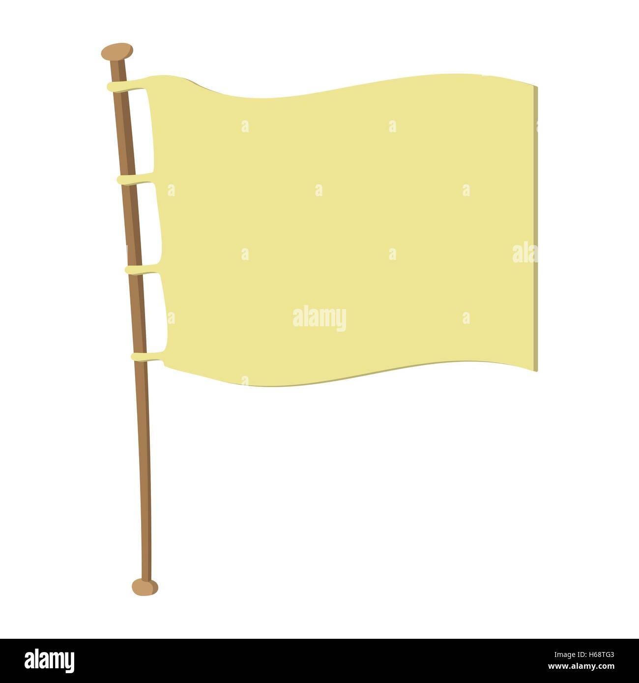 White flag on wooden flagpole - Stock Vector