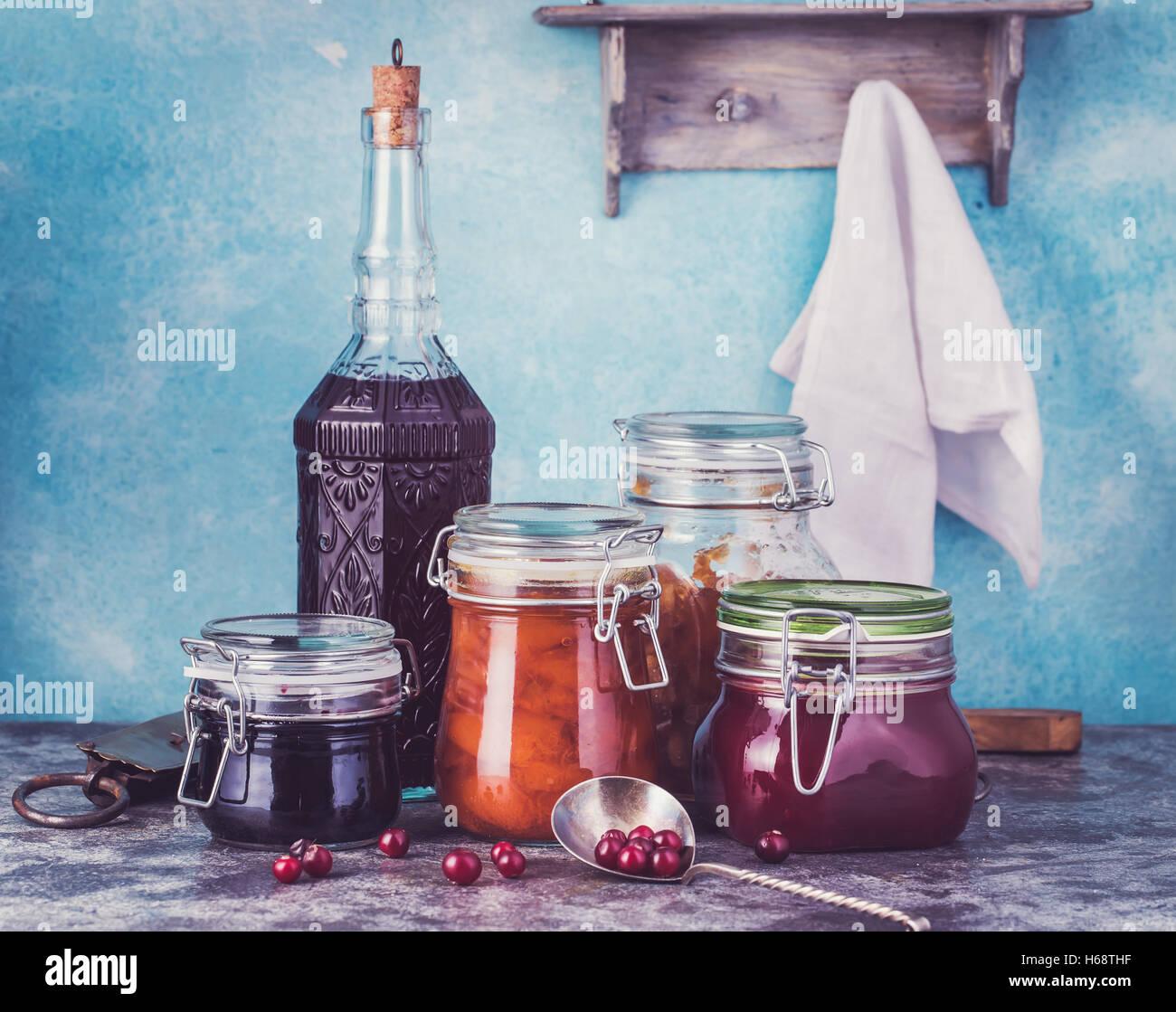 Various jars of homemade jam Stock Photo