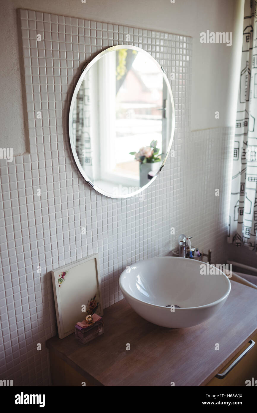 View of wash basin and mirror - Stock Image