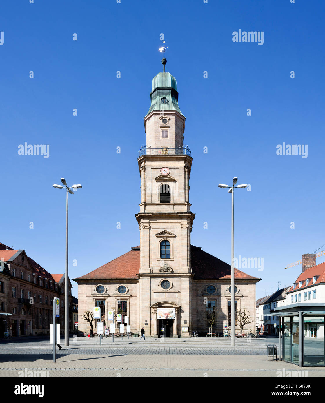 Hugenottenkirche, Huguenot Church, Erlangen, Middle Franconia, Bavaria, Germany - Stock Image
