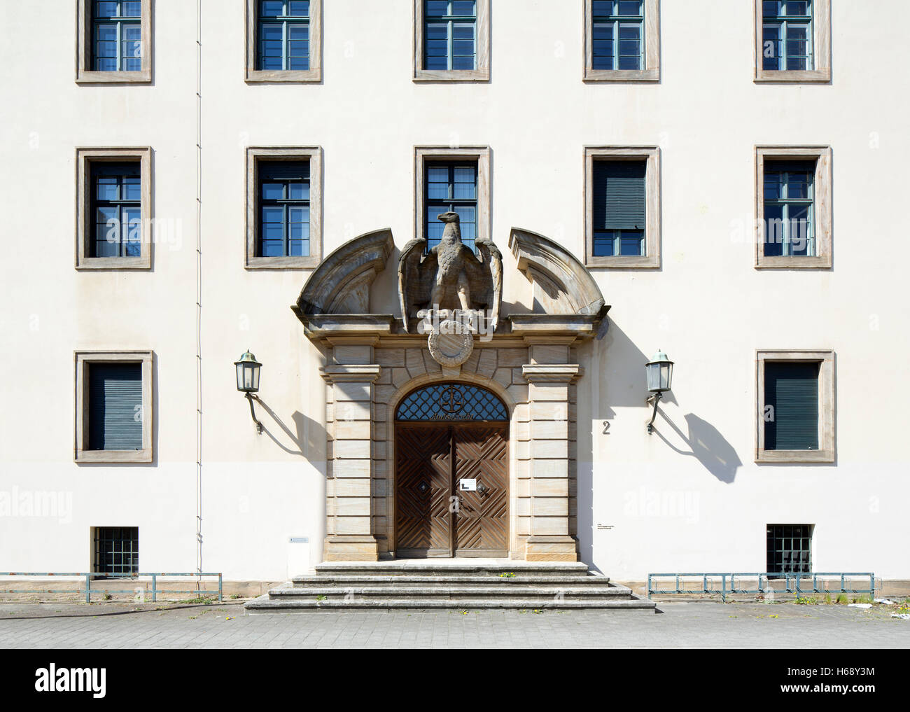 District court, Portal in the main building, Erlangen, Middle Franconia, Bavaria, Germany Stock Photo