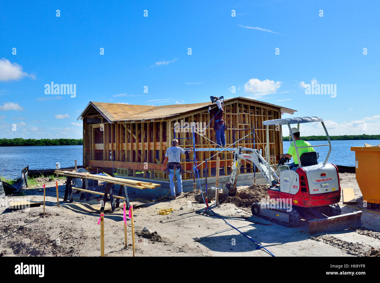 Timber frame construction stock photos timber frame for Wood frame house in florida