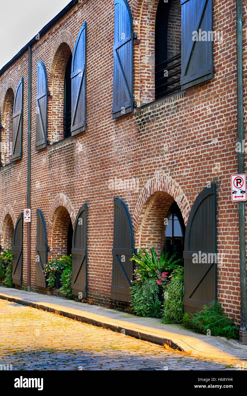 New apartments in the Old Warehouse building on Middle Atlantic Wharf in Charleston, SC Stock Photo