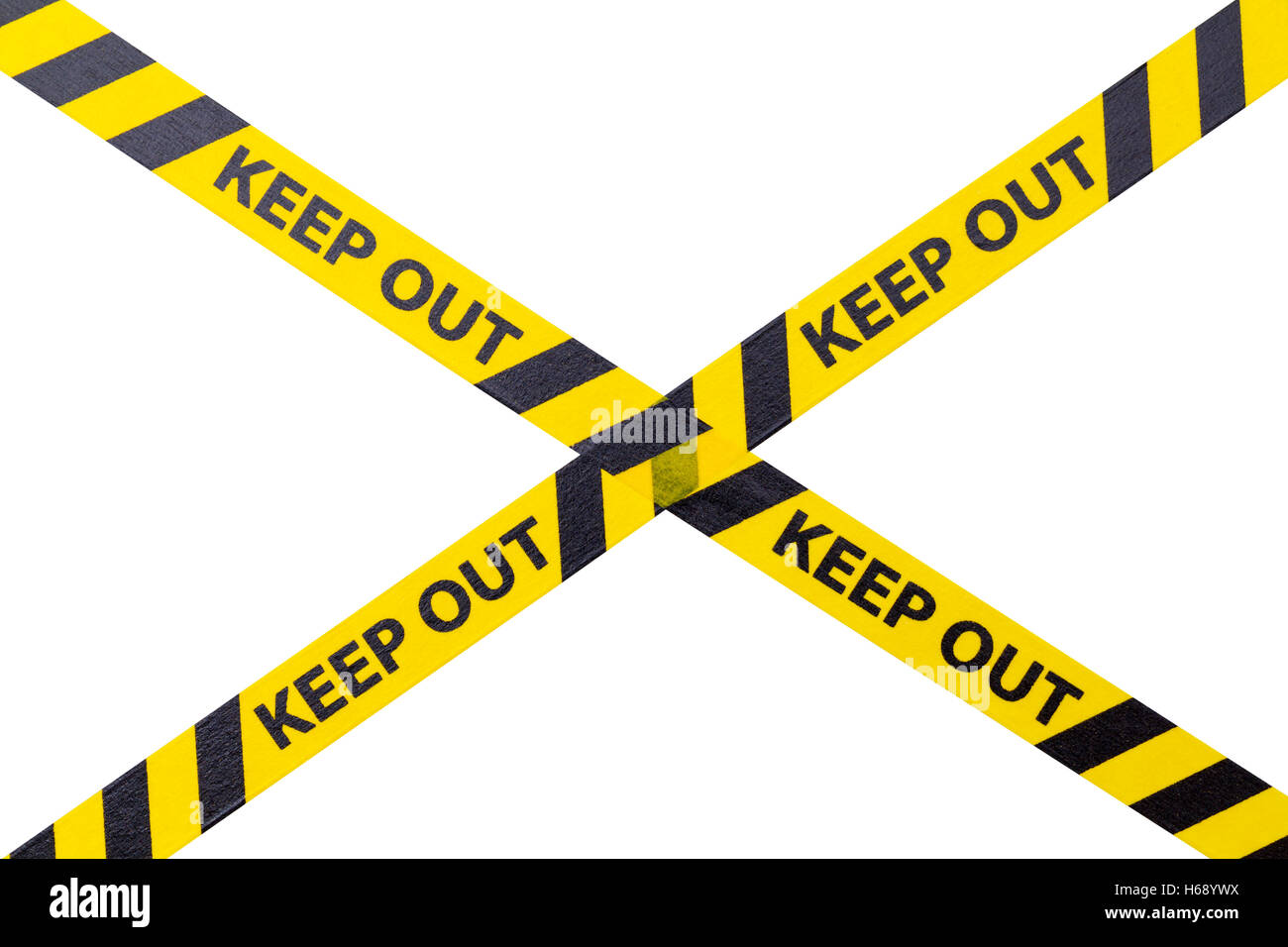 Yellow Keep Out Cordon Tape Isolated on White Background. - Stock Image