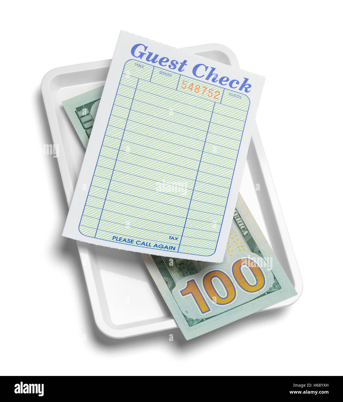 Receipt Tray with Money and Blank Guest Check Isolated on White Background. - Stock Image