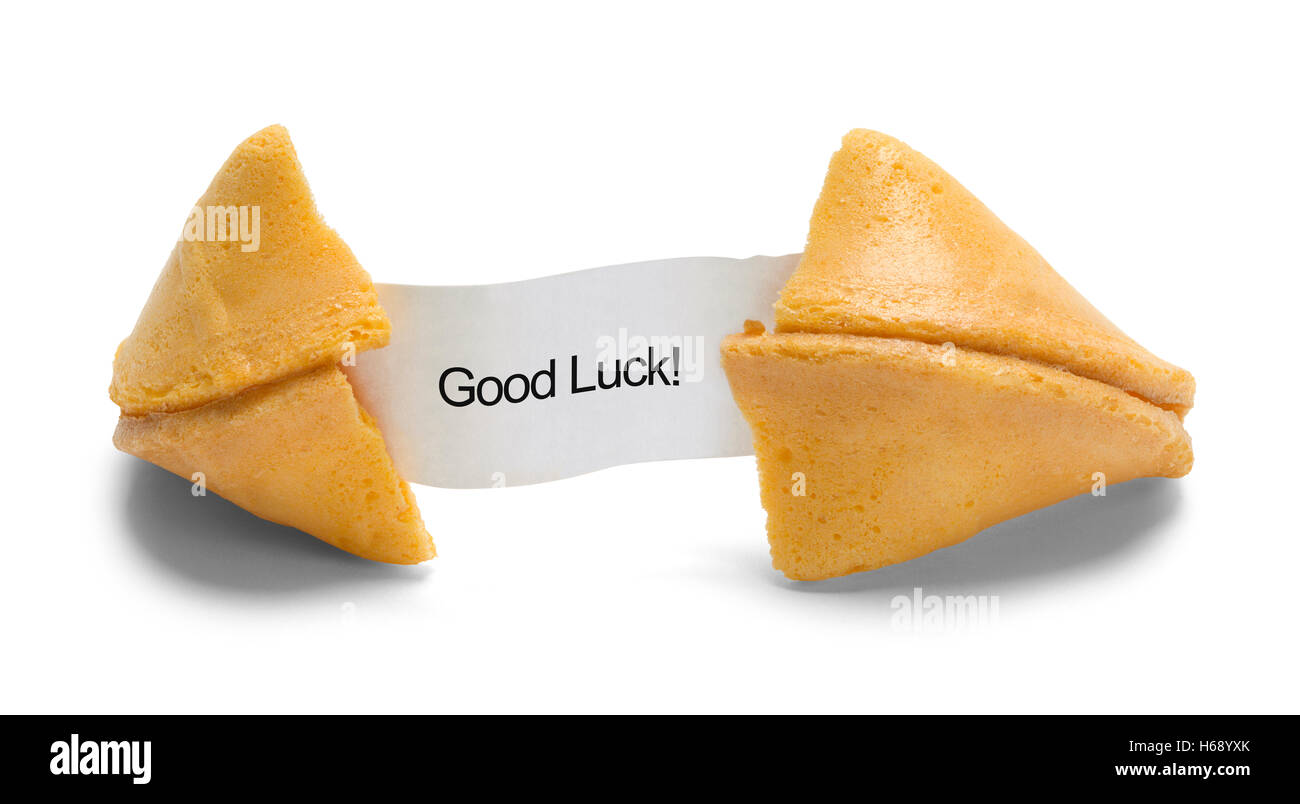 Fortune Cookie with Good Luck Message Isolated on White Background. - Stock Image