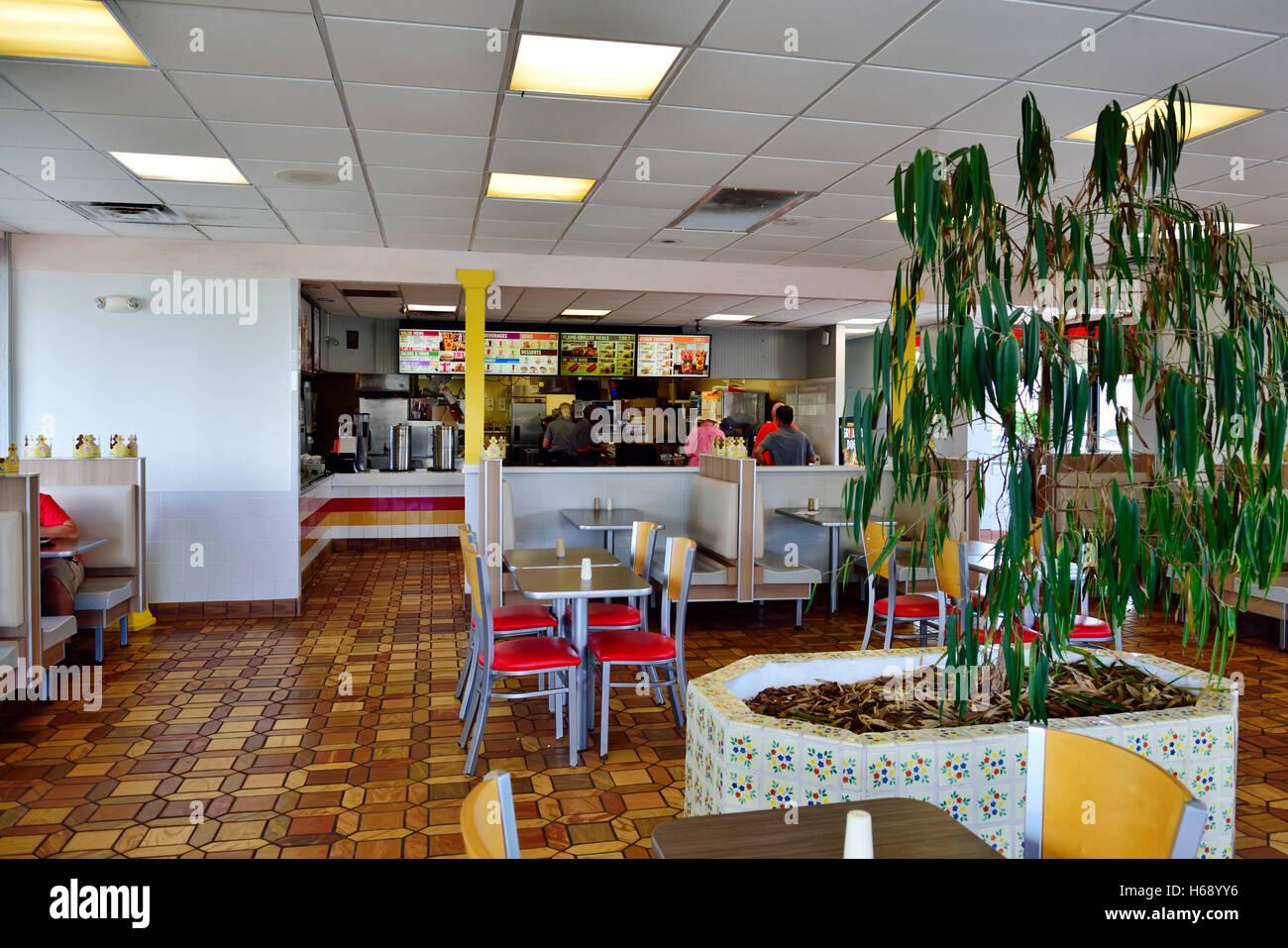 Inside American Burger King Fast Food Restaurant Fort