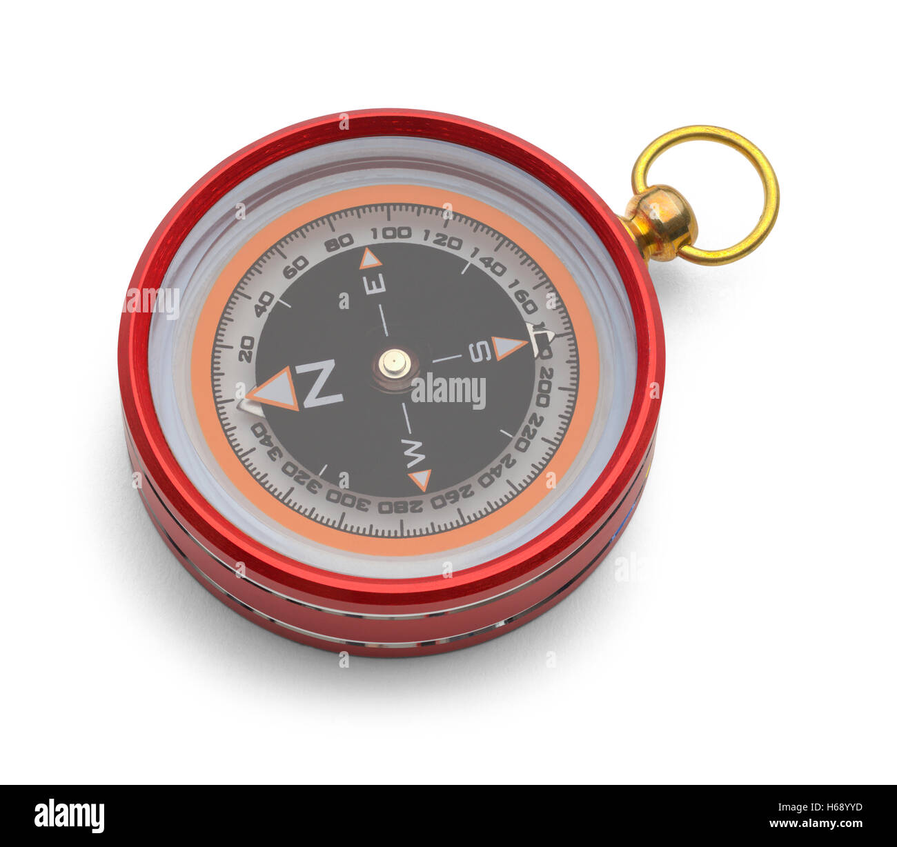 Red Metal Magnetic Compass Isolated on White Background. - Stock Image
