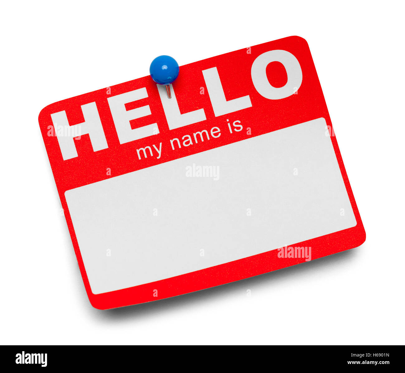 Red Hello Tag with Blue Tac Isolated on White Background. - Stock Image