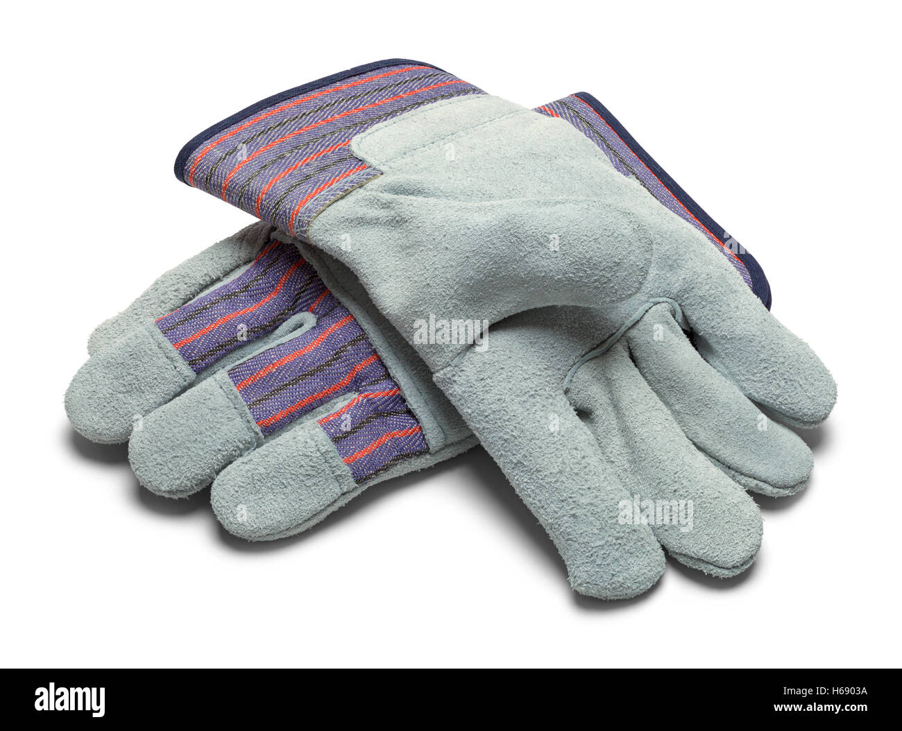 Pair of Grey Leather Work Gloves Isolated on White Background. - Stock Image