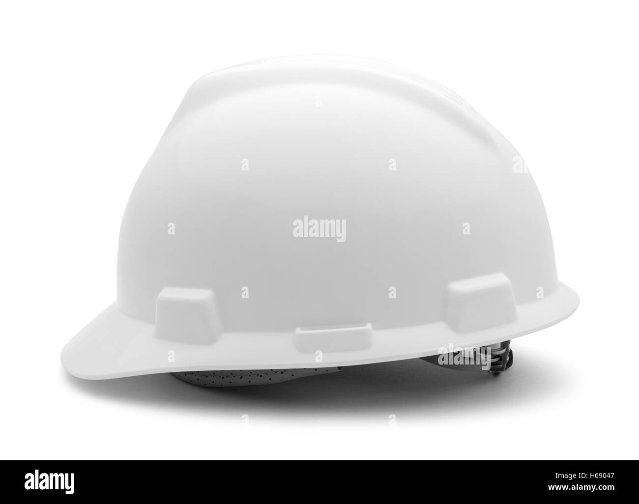 White Hard Hat Side View Isolated on White Background Stock