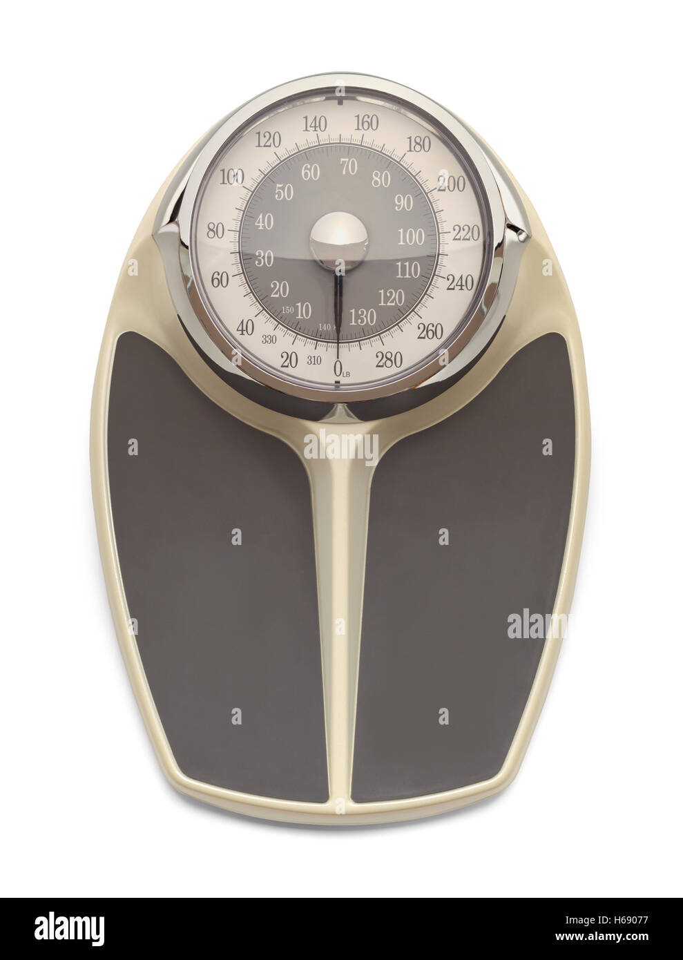 Large Old Fashion Weight Scale Isolated on White Background. - Stock Image