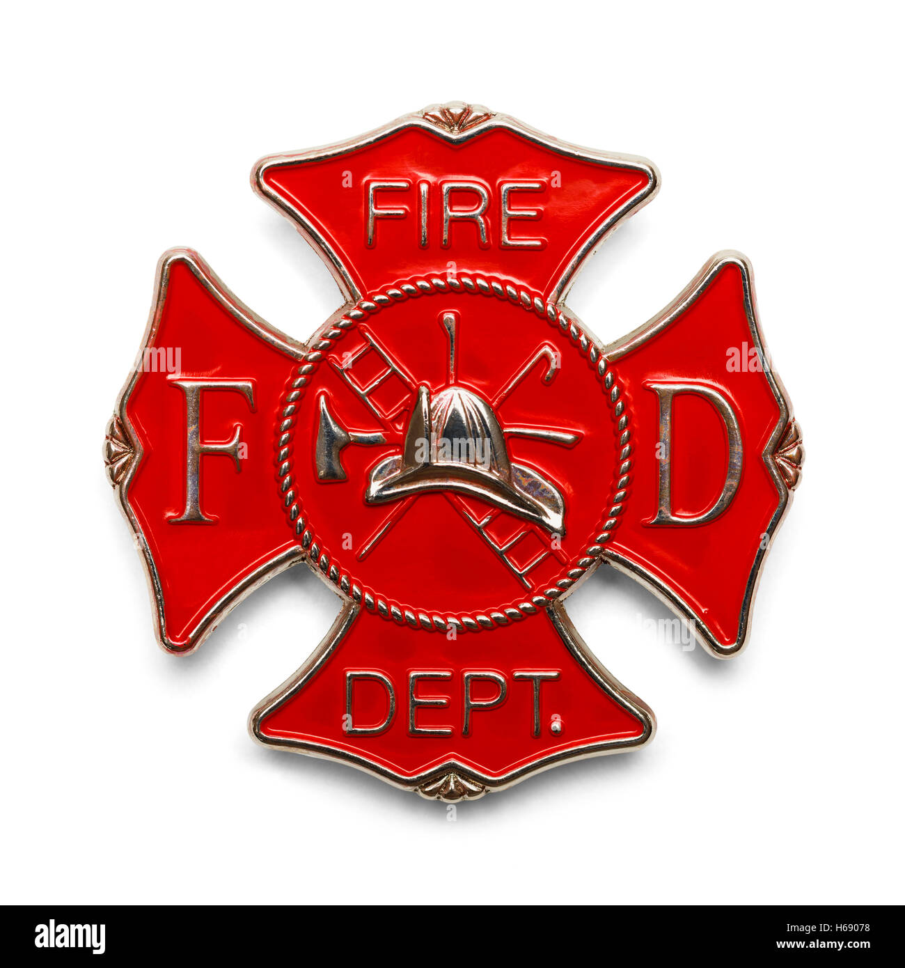 Red Fire Department Badge Isolated on White Background. - Stock Image
