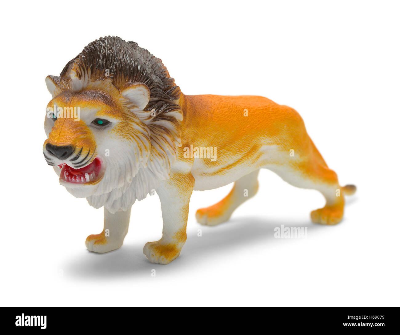 Plastic Lion Toy Isolated on White Background. - Stock Image