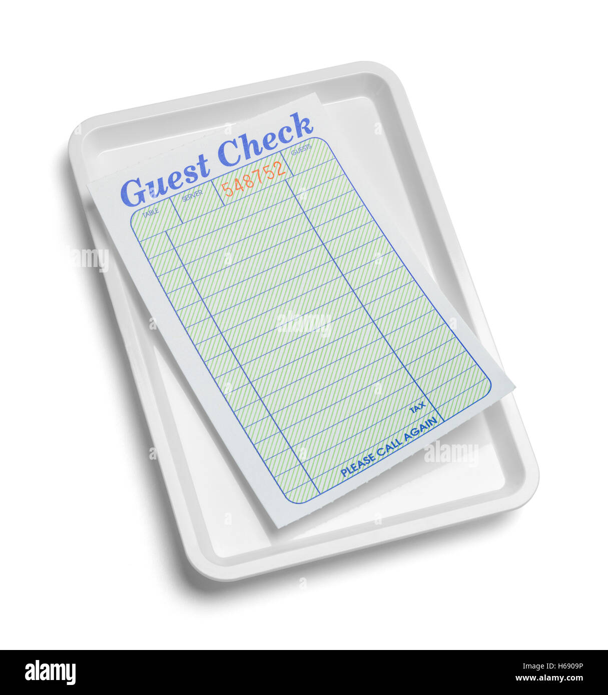 Receipt Tray with Blank Guest Check Isolated on White Background. - Stock Image
