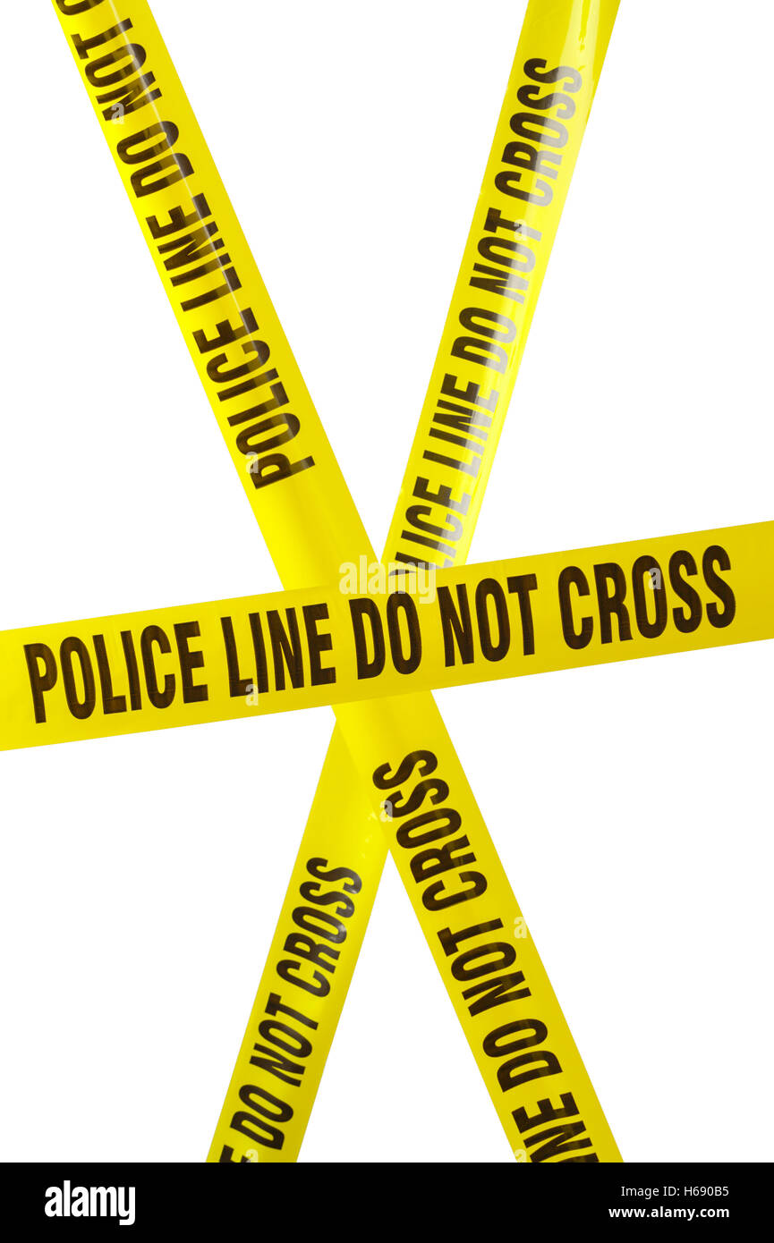 Yellow Police Line Cordon Tape Isolated on White. - Stock Image